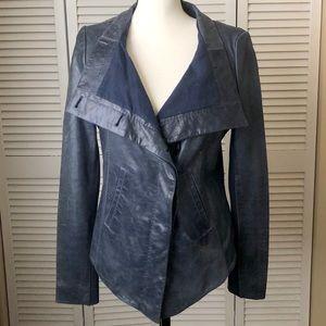 BCBG 100% Leather Jacket (indigo) Size M